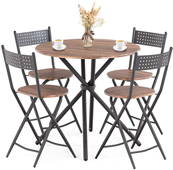 Amazon Com Mecor 5 Pcs Dining Table Set W 4 Folding Chairs Mid Century Vintage Round Coffe Metal Dining Table Dining Table Setting Black Dining Room Chairs