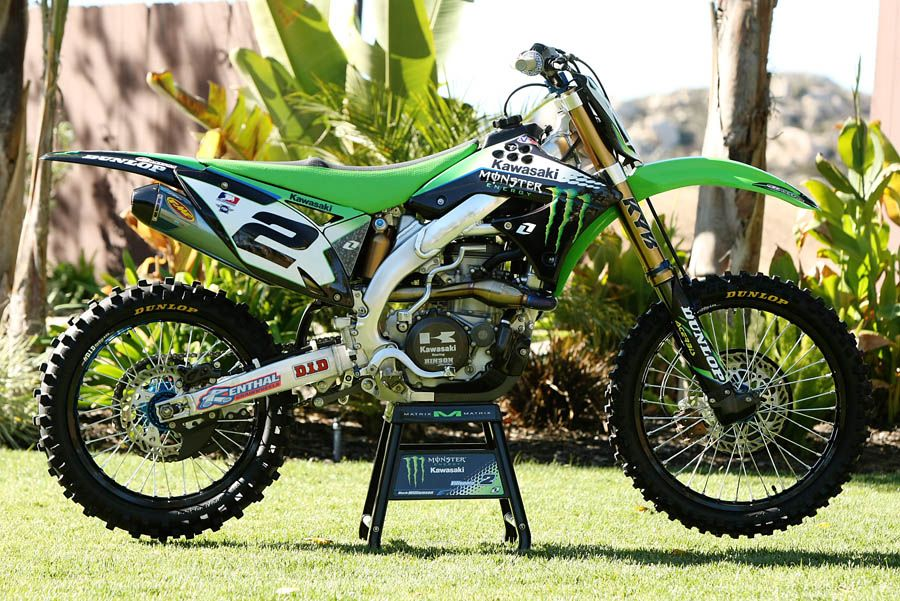 Inside Ryan Villopoto S Monster Energy Kx450f Mx Bikes Cool Dirt Bikes Kawasaki Dirt Bikes