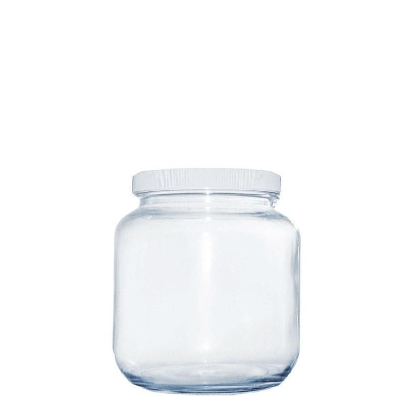 1 2 Gallon Clear Glass Jar With White Plastic Cap 110 400 Glass Jars Gallon Glass Jars Clear Glass