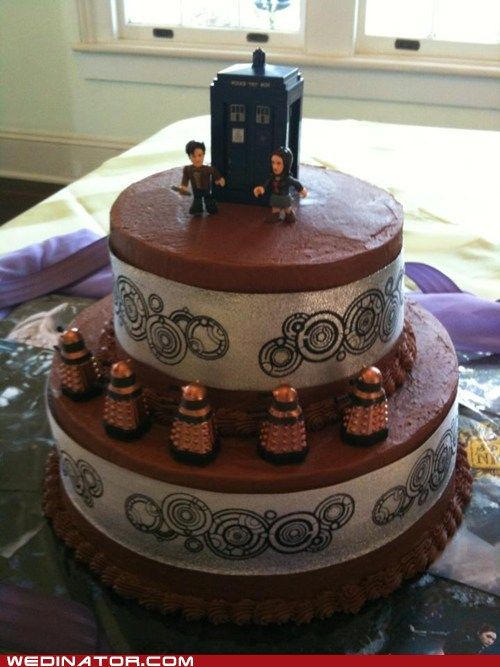 My inner geek is jumping up and down! I want a Dr. Who wedding cake with a TARDIS and Daleks and Galifreyan writing!  Somehow I don't think my mother will go for this....