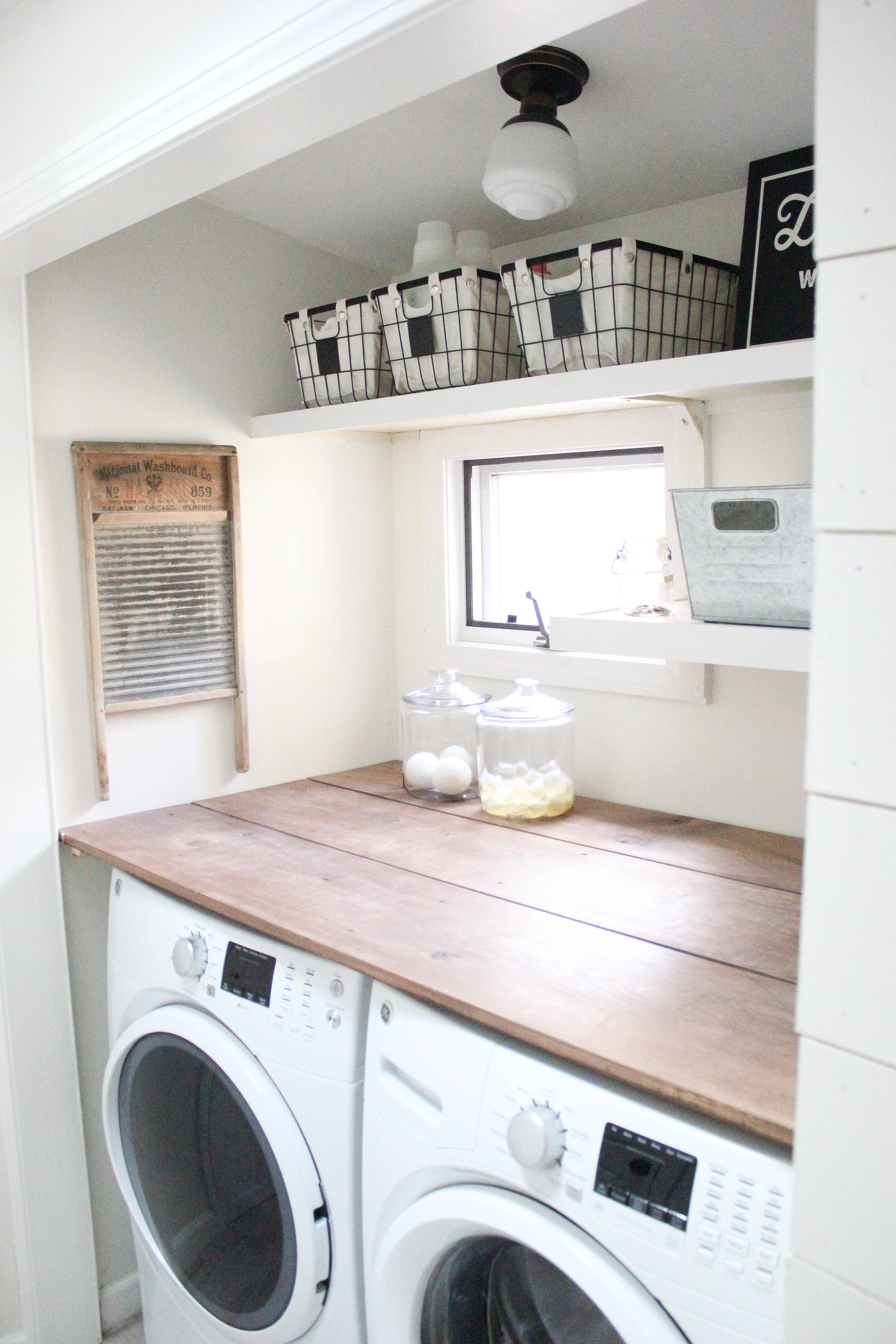 Home Farmhouse Laundry Room Wood Countertops Pinterest Farmhouse Laundry Rooms Laundry
