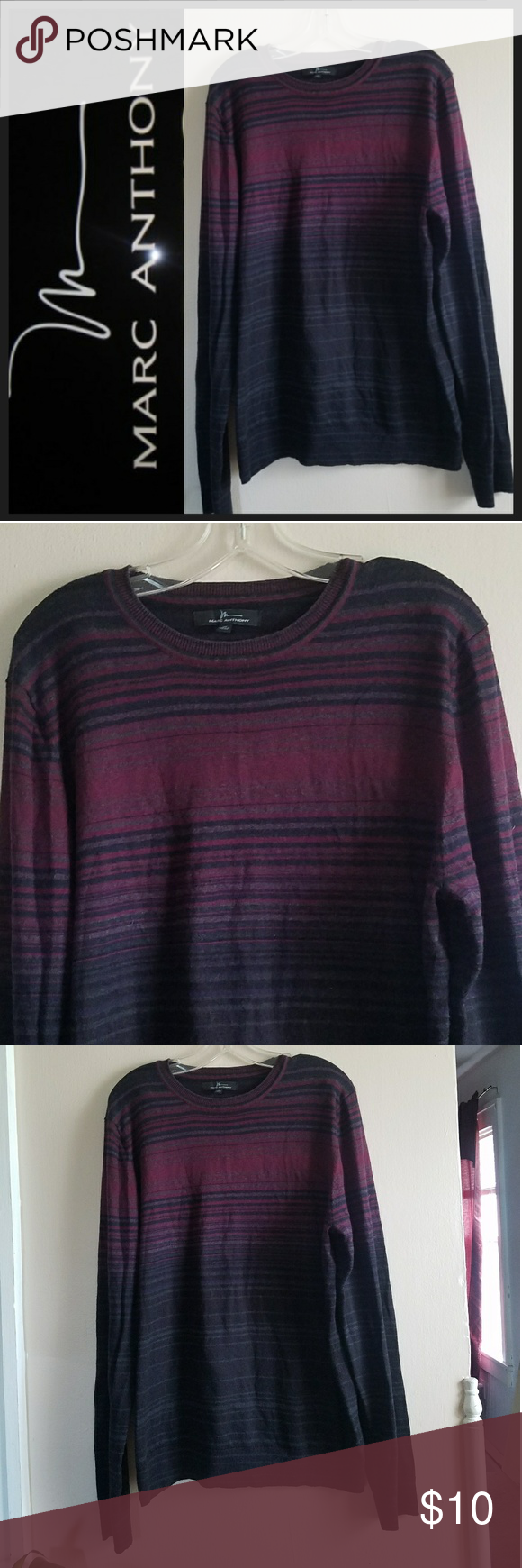 Marc Anthony Lightweight Striped Sweater Marc Anthony Size XL Crew Neck Sweater.Deep shades of fushia, purple, & black in this lighweight sweater. Casual yet sexy! Great condition. Cotton, Cashmere & Wool Mix. Marc Anthony Sweaters Crewneck