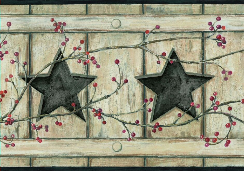 Country Cutout Star and Berries Wallpaper Border Borders