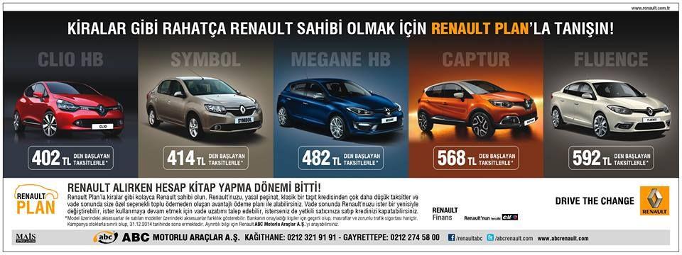 Rahatça Renault Sahibi Olmak için, Abc'de fırsatlar bitmez...