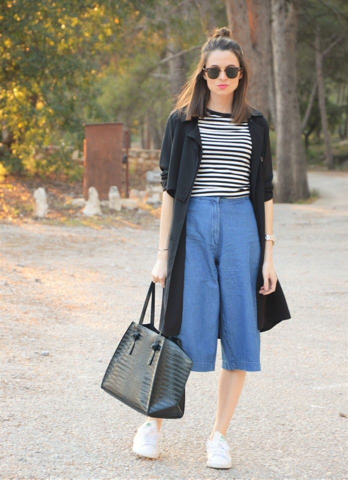 #denim #culotte #casual #stansmith