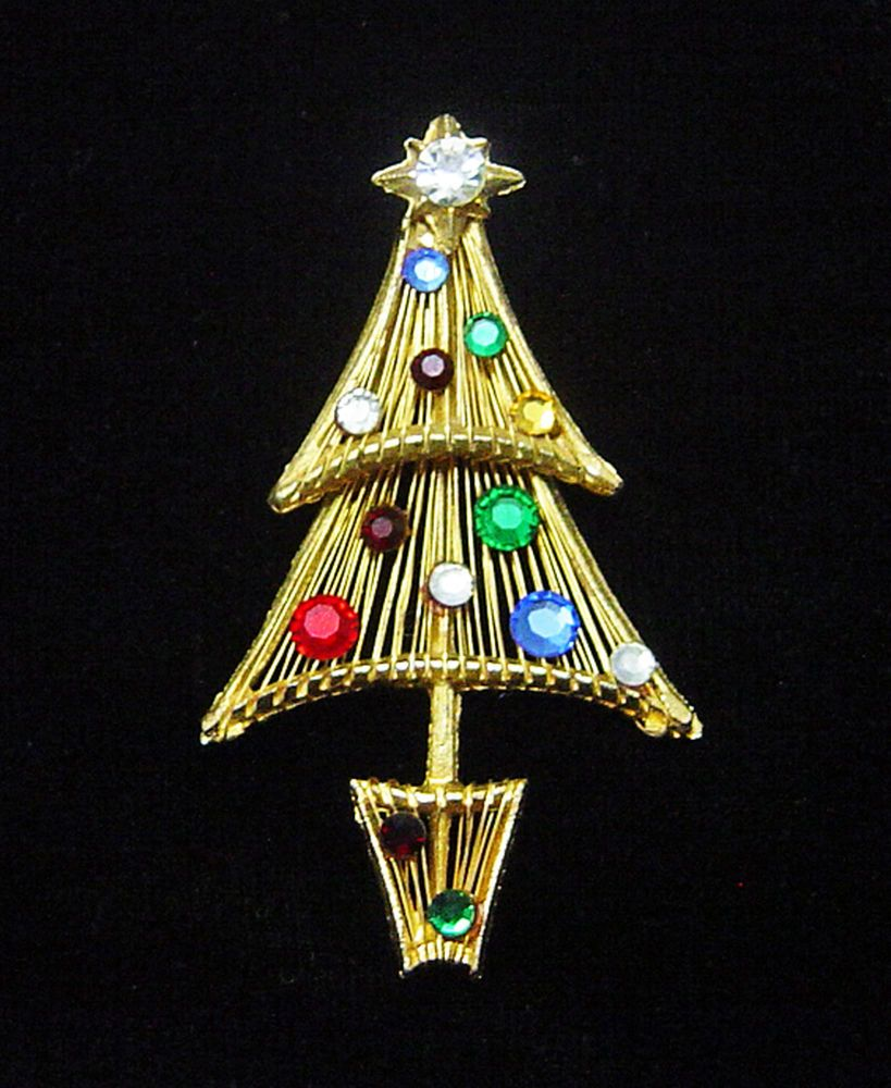 RARE U0026 UNIQUE VINTAGE VENDOME Wired CHRISTMAS TREE PIN, Book Piece