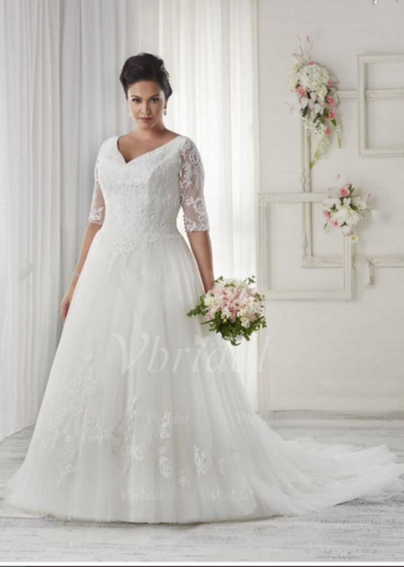 Awesome amazing new plus size whiteivory bridal gown vneck wedding