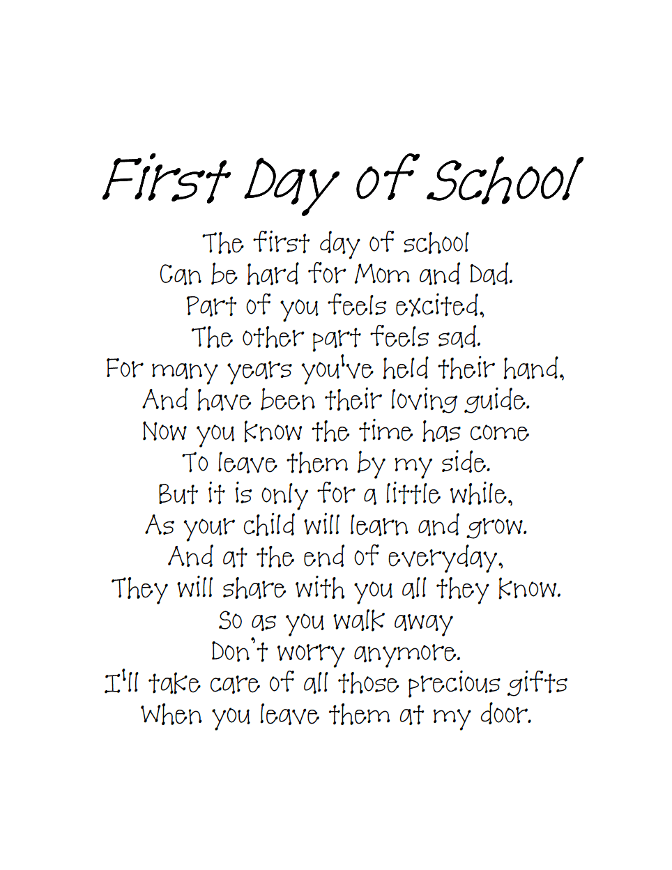 Back to school poempdf send home with a first day picture school back to school poempdf send home with a first day picture fandeluxe