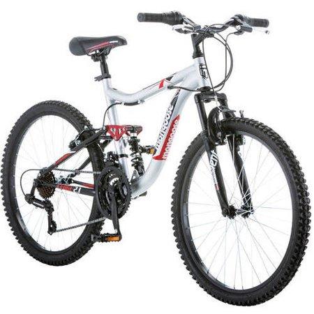 24 Mongoose Ledge 2 1 Boys Mountain Bike Silver Red Walmart