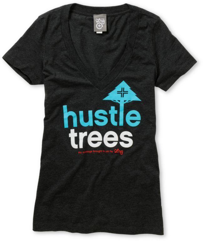 LRG Girls Hustle Trees Charcoal Grey V-Neck Tee bfb4d0fa9f2