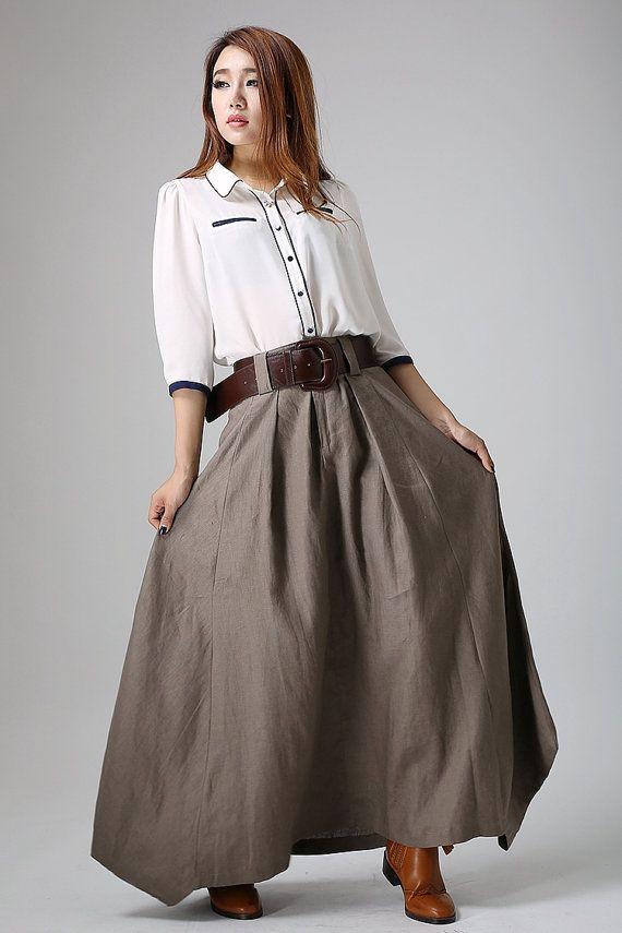 f41893437a29 Long linen skirt, maxi skirt for women, brown skirt, pleated skirt ...