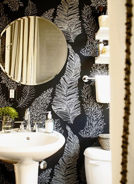 Black White Bathroom Wallpaper Bathroom Wallpaper Modern Black White Bathrooms Fern Wallpaper Modern wallpaper for bathrooms 10