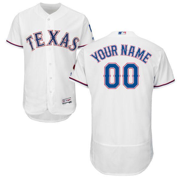 Texas Rangers Majestic Flexbase Collection Custom Jersey White Custom Baseball Jersey Custom Jerseys Texas Rangers