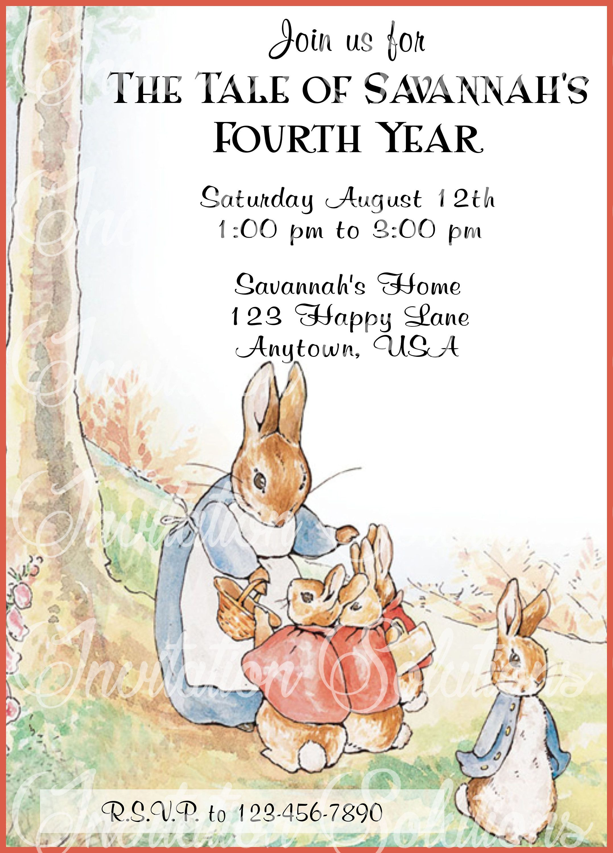 Beatrix Potter Birthday party invitation/ Peter Rabbit Party Invite ...