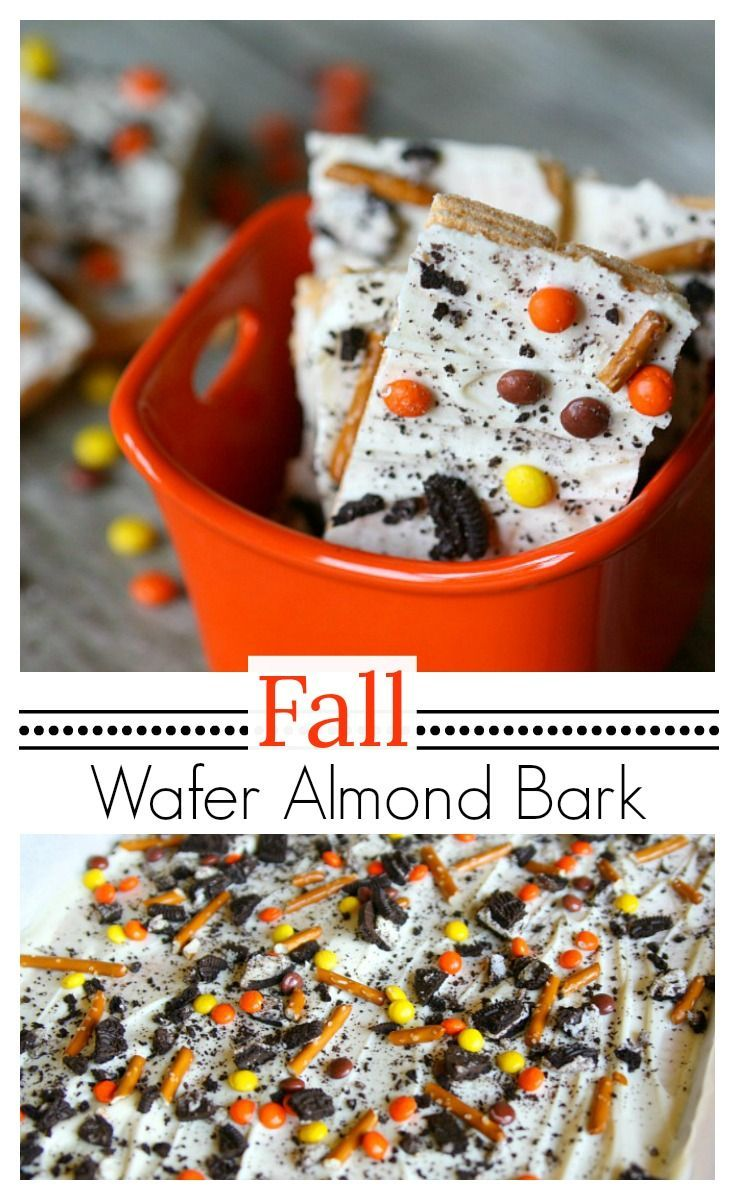 Fall Wafer Almond Bark The Mama Report Almond Bark Dessert Recipes Fall Recipes