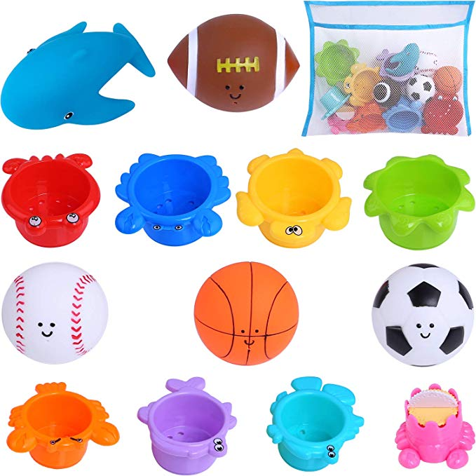 Beach and Pool Party Shower Squirt Toys for Toddler Education Teaching and Learning Colors Whales Set 14Pcs Balls Playset and Stackable Cups Bathtub Toys for Kids GINMIC Baby Bath Toys