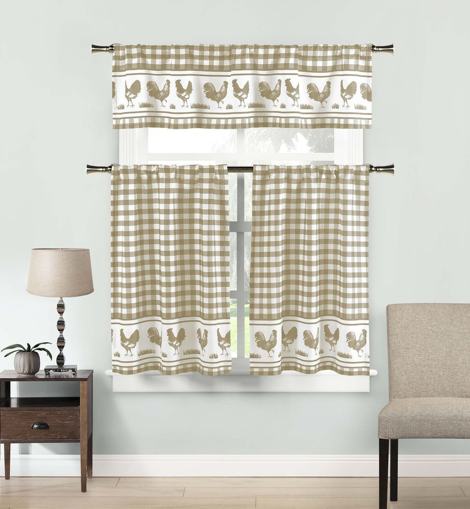 Beige And White Rooster Check Kitchen Curtain Drape Tier & Valance ...