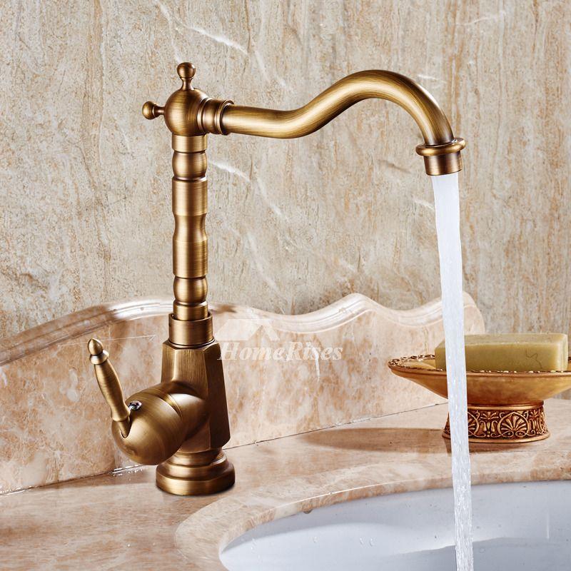 Gold Bathroom Faucet Antique Brass Brushed Single Handle Vessel Bathroom Faucets Gold Bathroom Gold Bathroom Fixtures