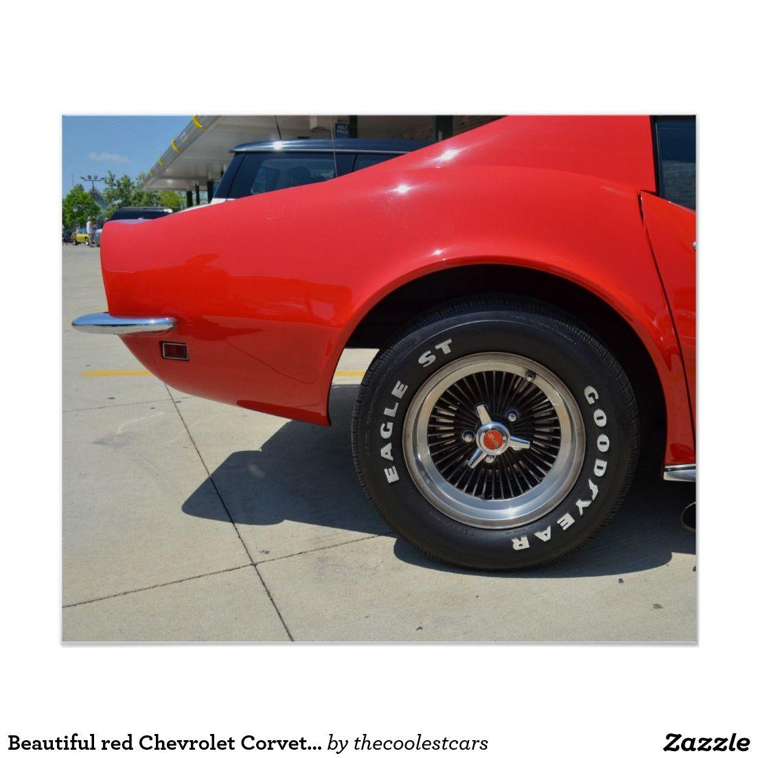 Beautiful red Chevrolet Corvette C3. Poster