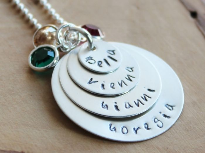 Personalized Family Necklace Sterling Silver - 4 Stack Mommy Gift | 2 Sisters Handcrafted
