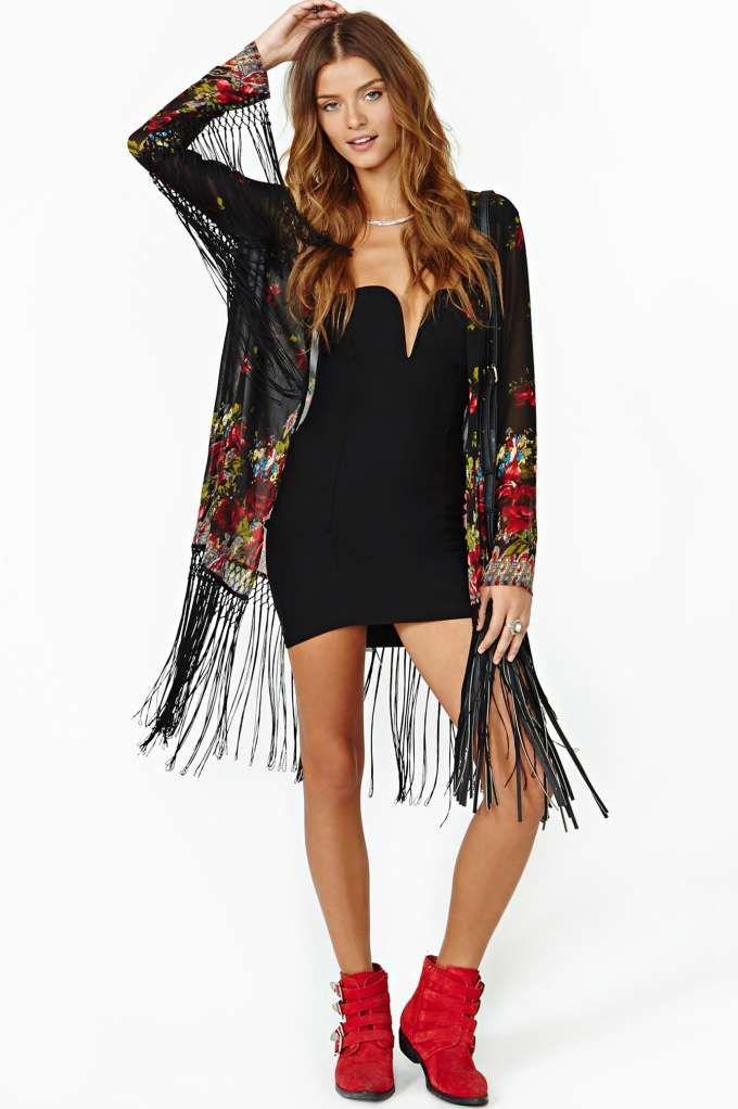 Fire Rose Fringe Kimono J love this one too | Wardrobe ...