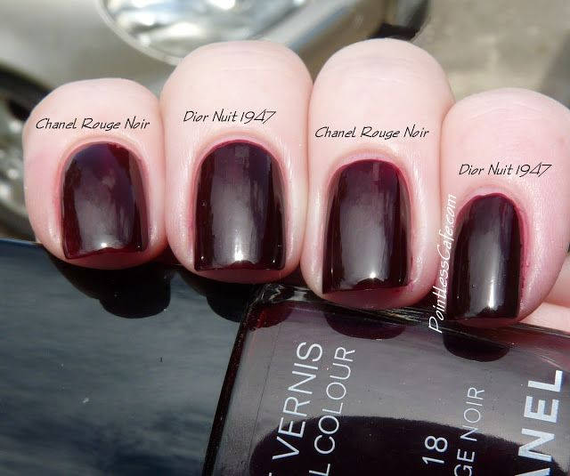 Dior Nuit 1947 Swatches And Comparison With Chanel Rouge Noir Chanel Nail Polish Dior Nail Polish Chanel Nails