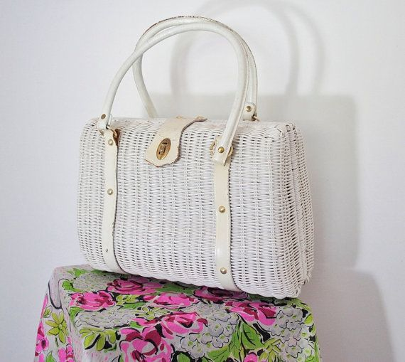 vintage sixties white wicker bag oversized by cloudninevintage, $49.90