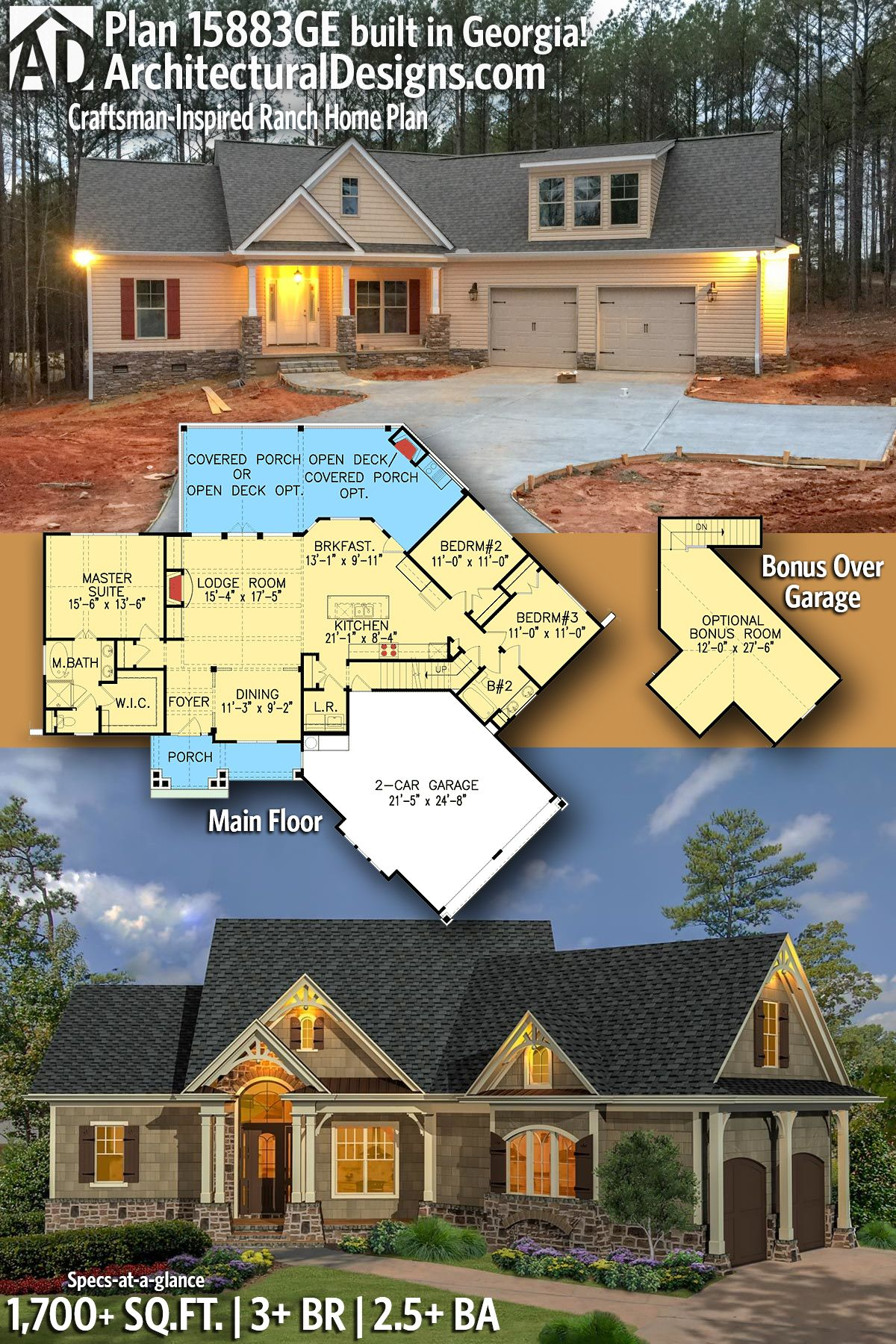 Architectural Designs House Plan 15883ge Client Built In South Carolina 3 Br Ranch House Plans Architectural Design House Plans Mediterranean House Plans