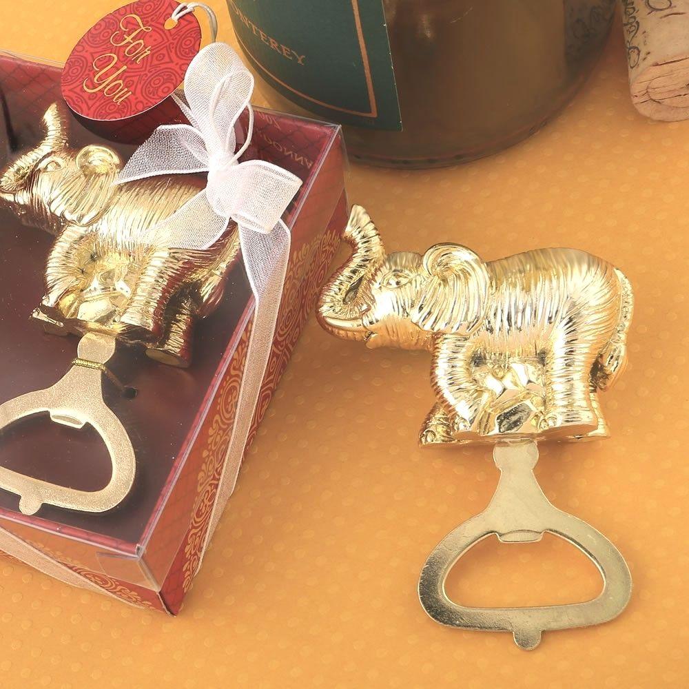 96 Lucky Elephant Gold Metal Bottle Opener Wedding Shower Party Gift Favors