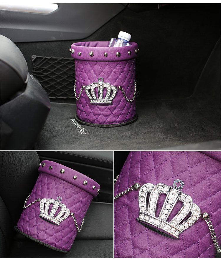 Purple Crown Leather Rhinestone Water resistant Car Trash
