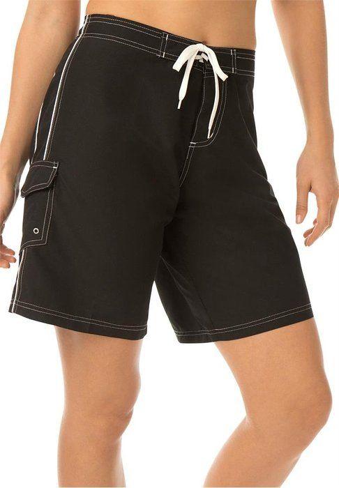 77a929bbf8a Women's Plus Size Long Board Shorts Black,14 | Shopping List ...