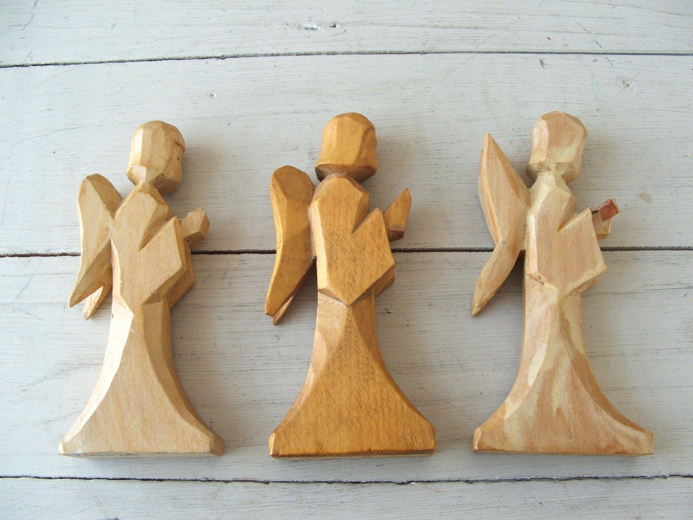 3 Vintage Hand Carved Wooden Christmas Angels Primitive Carolers