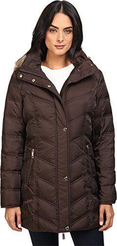 Kenneth Cole New York Womens Chevron Quilted Coat with Fur Hood ... : kenneth cole chevron quilted coat - Adamdwight.com
