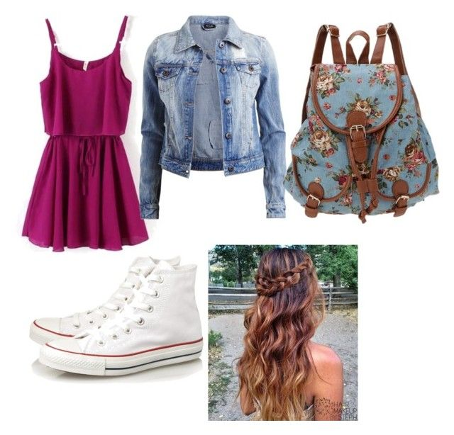 """""""school outfit"""" by annawinslow ❤ liked on Polyvore featuring VILA and Converse"""