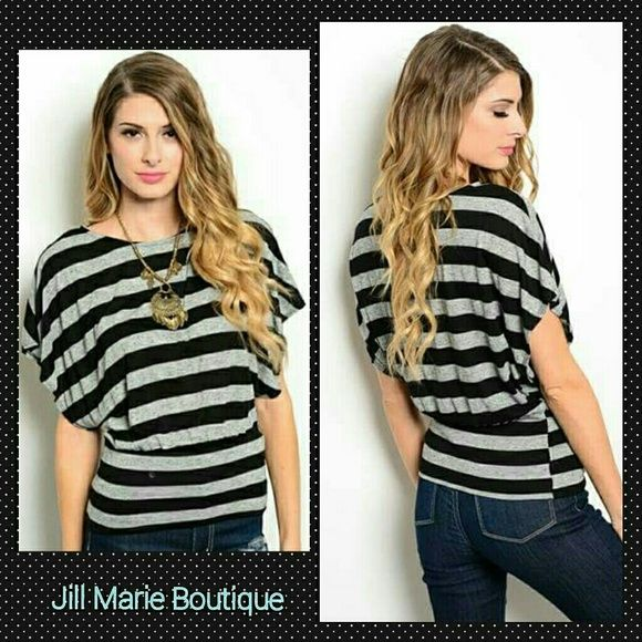 Black and Gray Striped Top Size Small New Black and gray short sleeve top with a banded waistband. Size Small 7/8. Brand new from our boutique. Super soft rayon cotton fabric. Tops