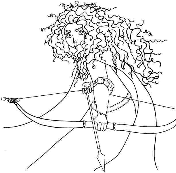 Colouring Pages Disney Princess Merida Brave Free Printable For Little Kids 55577