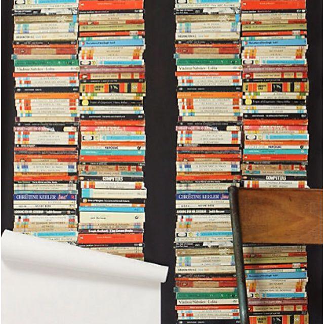 Too clever! Bookshelf wallpaper - Anthropologie.