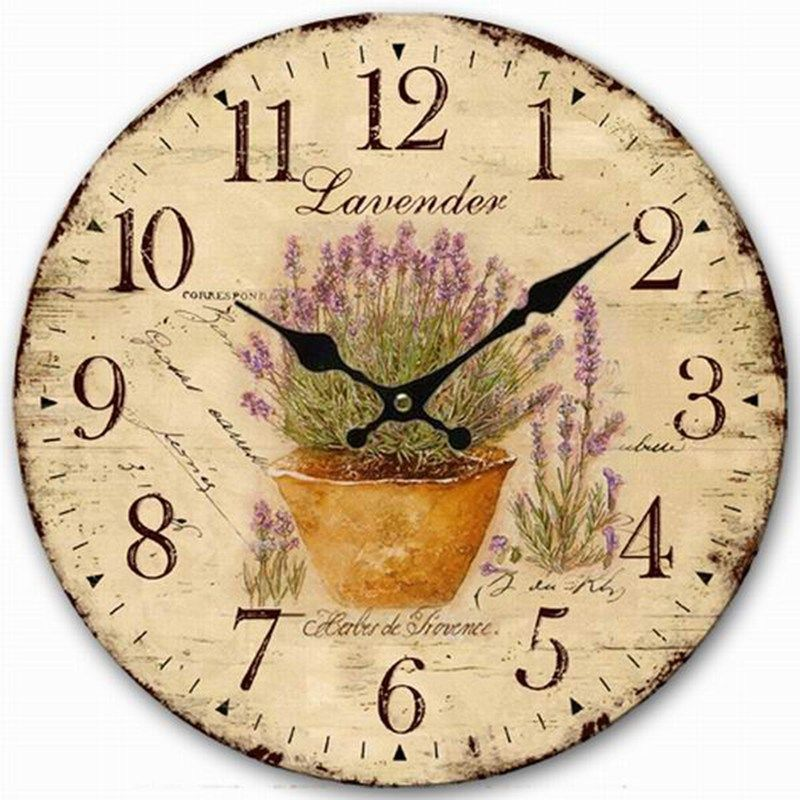 Large Oversized Wall Clocks Home Decor Rustic Flower Lavender ...