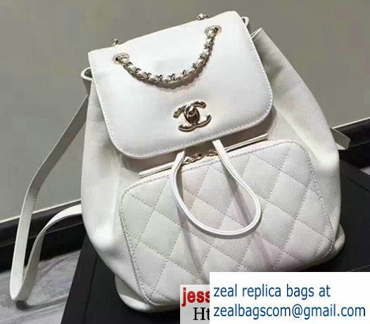 7ad0f52253a072 Chanel Grained Calfskin Business Affinity Backpack Bag A93748 White 2017