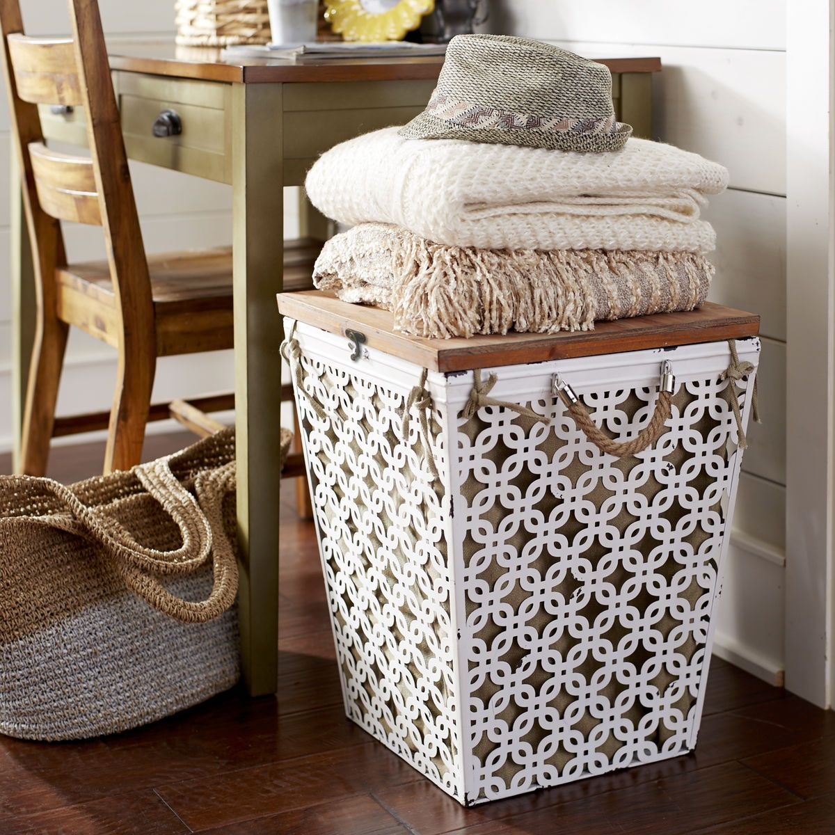 An Elegant Addition To Your Bedroom Or Bath Our Millie Hamper Is