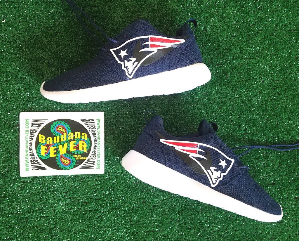 72150562b4d9e7 Bandana Fever New England Patriots Print Custom Navy Nike Roshe Shoes
