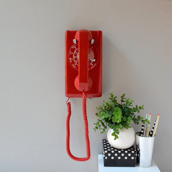 Rotary wall phone; red rotary wall telephone; working rotary phone; wall mount retro telephone in red; rotary wall phone #wallphone