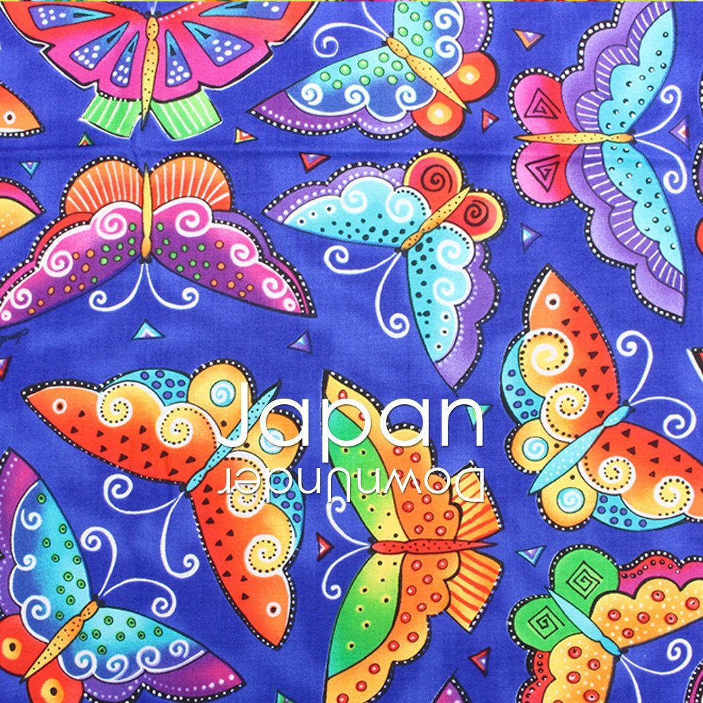 100 Made In An Cotton Fabric Witha Bright Large Erfly Print