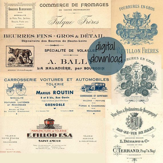 Digital Antique Letterheads from French Vintage Invoices   Have you