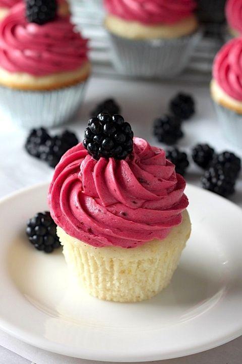 Lemon Cupcakes with Blackberry Buttercream Lemon Cupcakes with Blackberry Buttercream