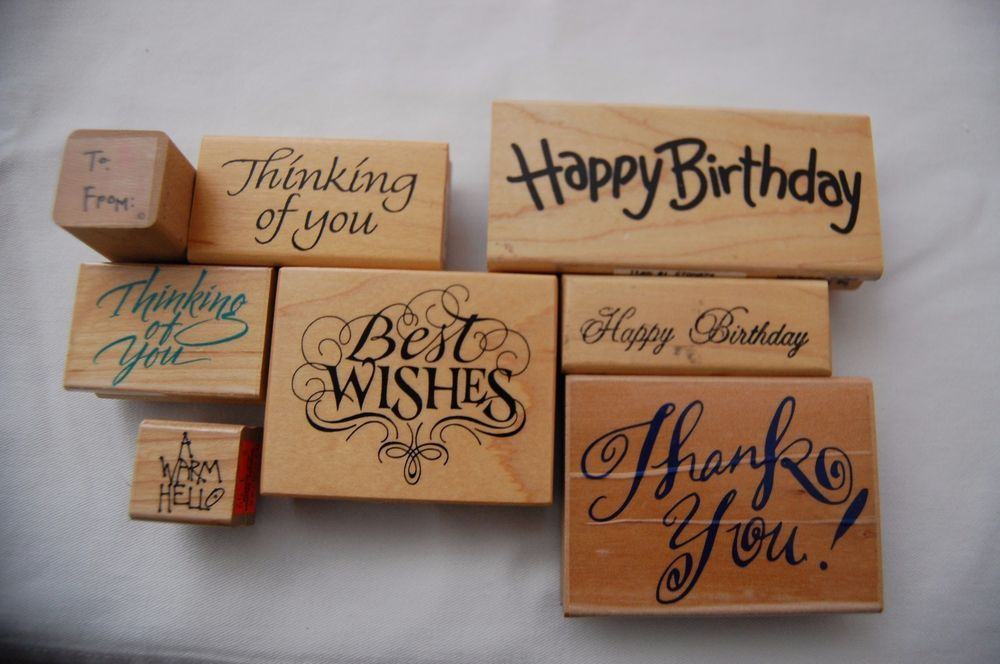 Rubber Stamp Set of 10 Stamps Birthday Thank You To From Best Wishes Free Gifts* #Various