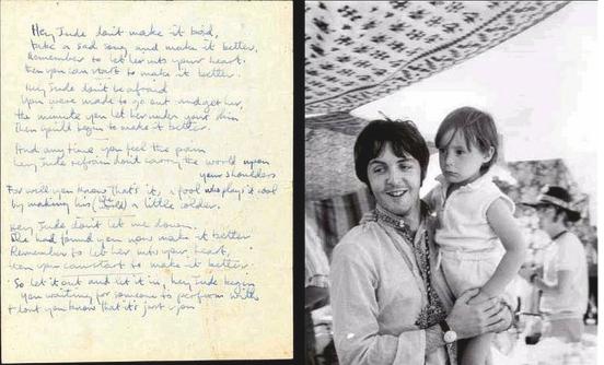 """Paul with Julian & hand written lyrics to """"Hey Jude"""" (originally called """"Hey Jules"""")"""