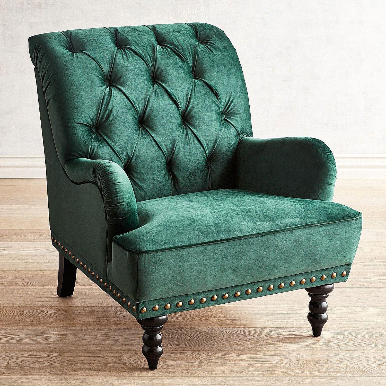 Superbe Chas Emerald Velvet Armchair