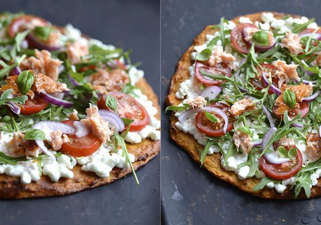 sweet potato and cottage cheese pizza
