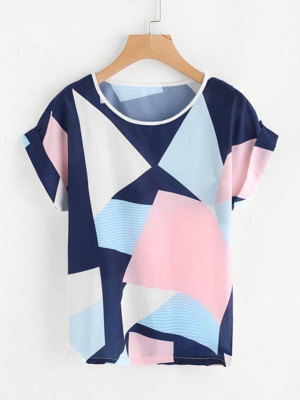 7ea9603748 Random Geo Print Cuffed T-shirt -SheIn(Sheinside)   Blusas de 2019 ...